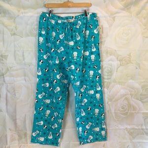 JK Intimates turquoise flannel snowman pj bottoms